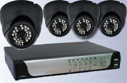 Lasertech 4-Chanel DVR with Four Infrared Night Vision Dome Cameras